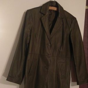 Forest Green Leather Coat
